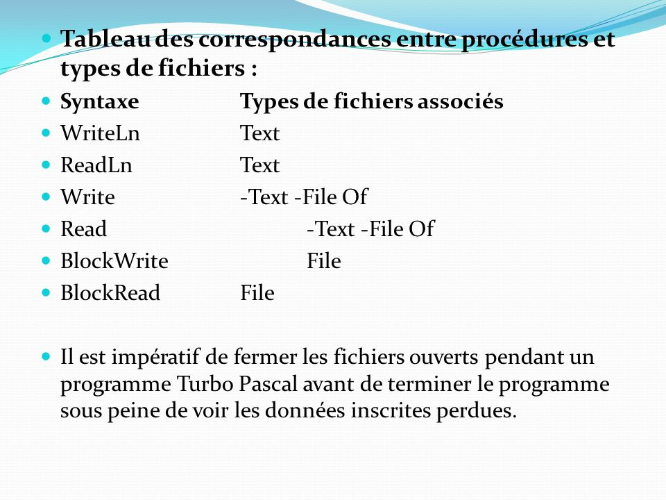 Tableau des correspondances entre procédures et types de fichiers :