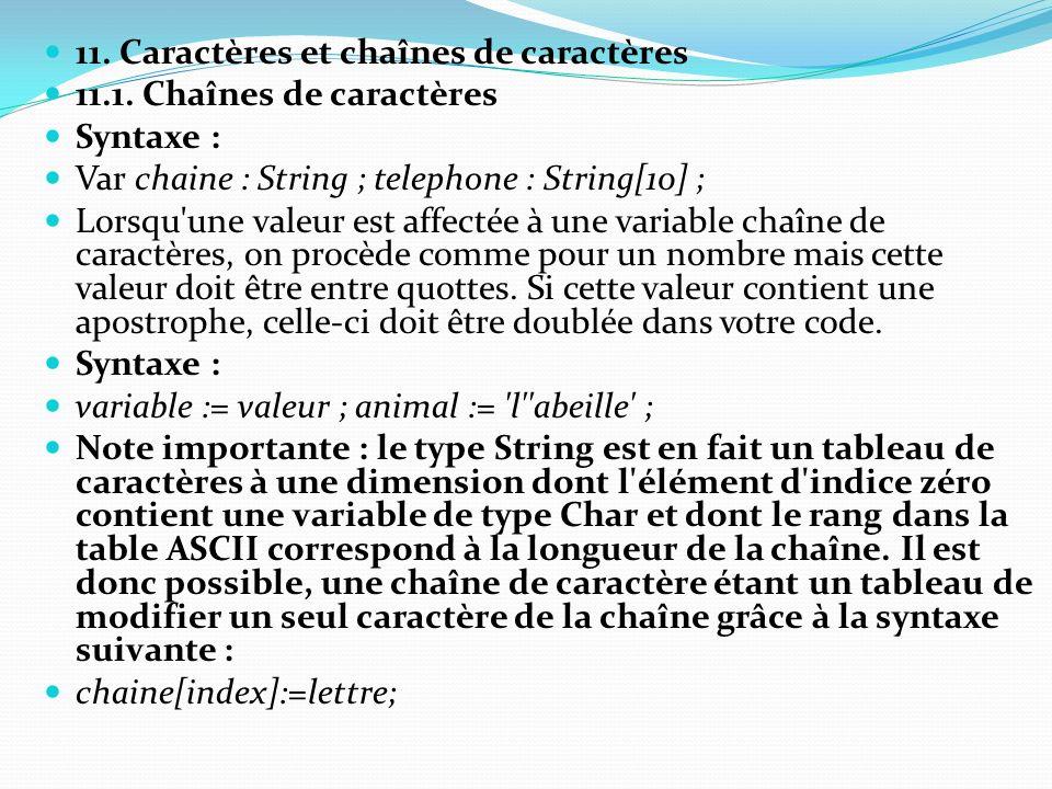 11. Caractères et chaînes de caractères