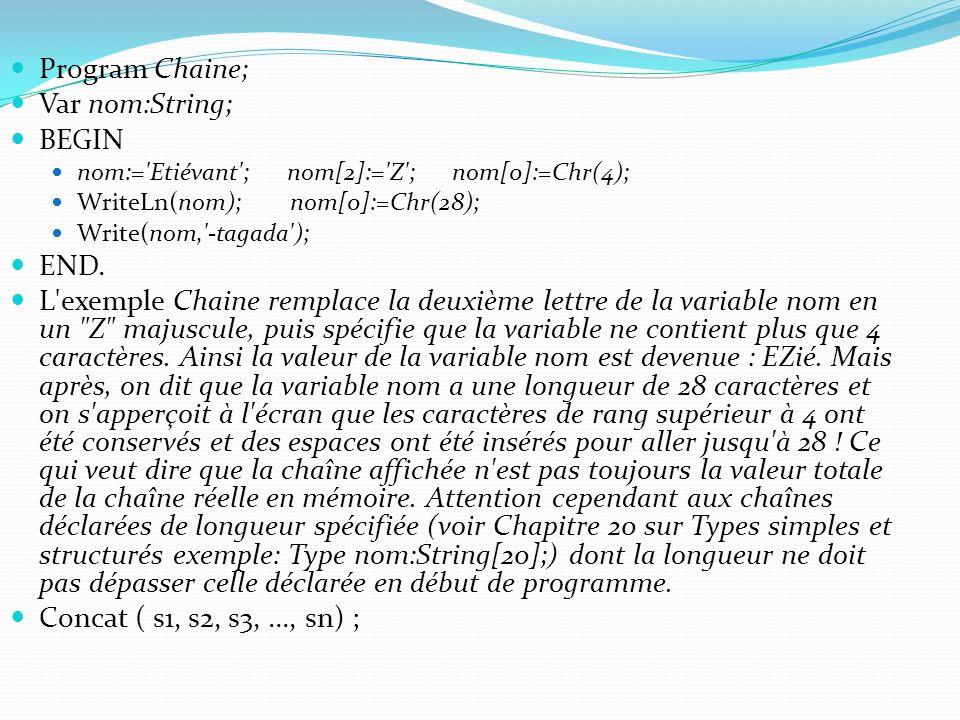 Program Chaine; Var nom:String; BEGIN END.