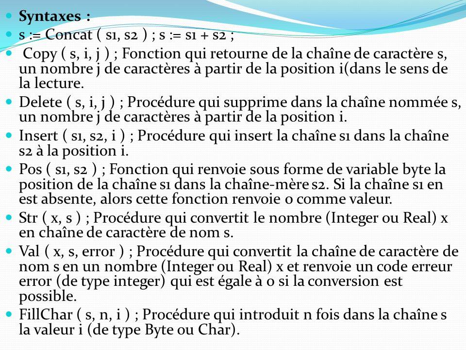 Syntaxes : s := Concat ( s1, s2 ) ; s := s1 + s2 ;