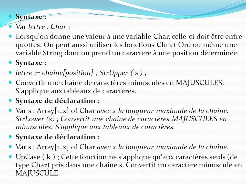 Syntaxe : Var lettre : Char ;