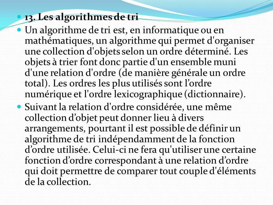 13. Les algorithmes de tri