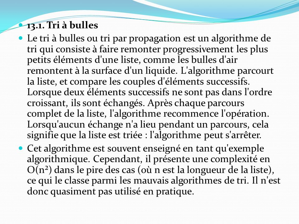 13.1. Tri à bulles