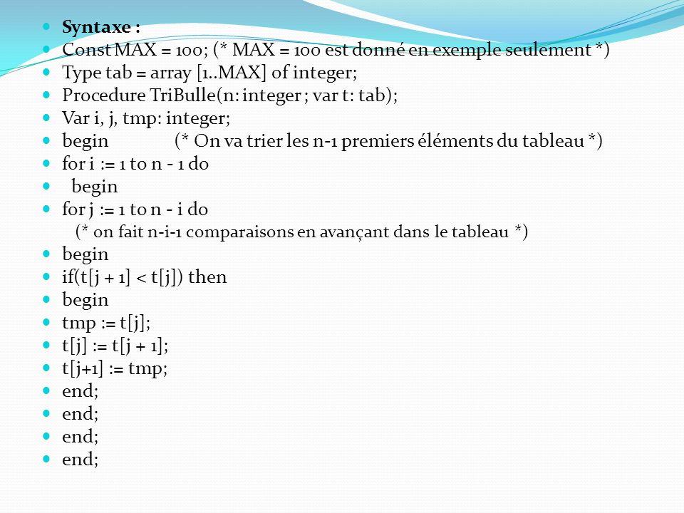 Const MAX = 100; (* MAX = 100 est donné en exemple seulement *)