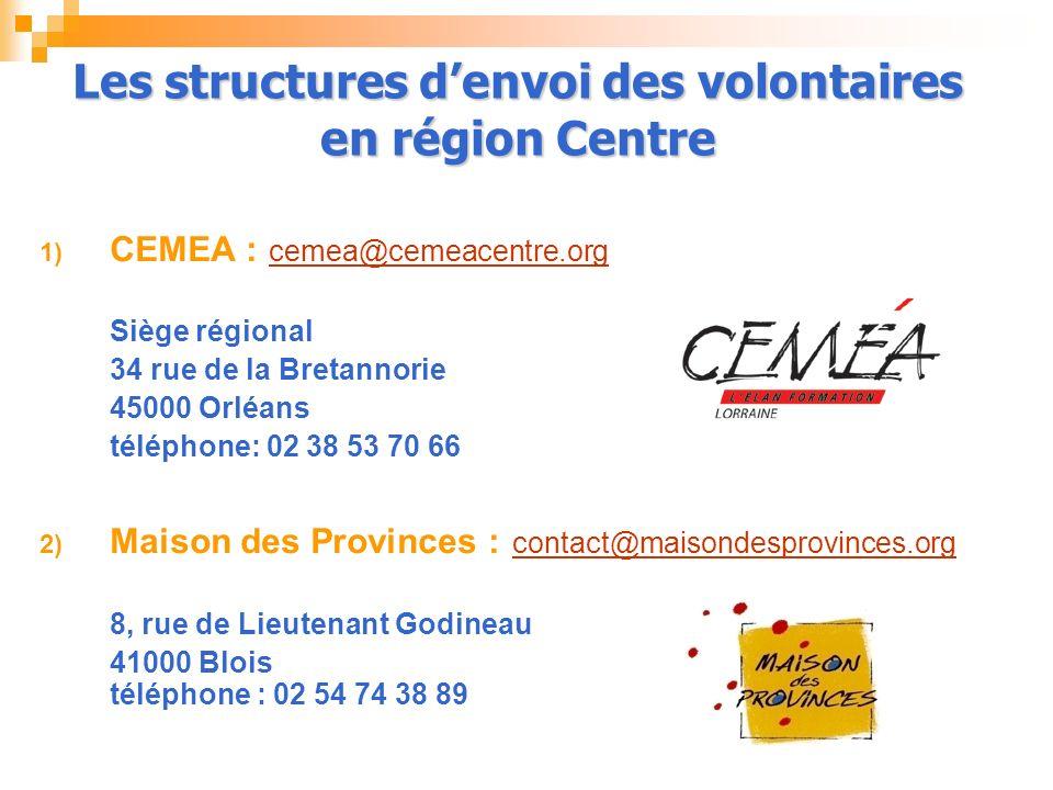 Les structures d'envoi des volontaires en région Centre