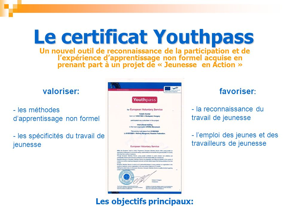 Le certificat Youthpass