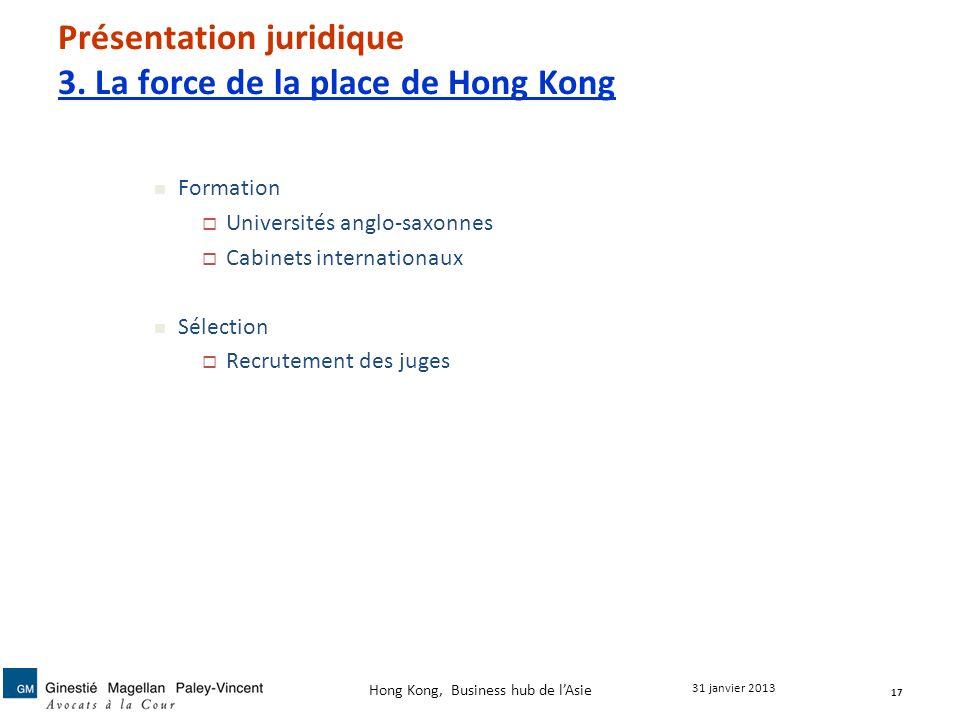 Présentation juridique 3. La force de la place de Hong Kong