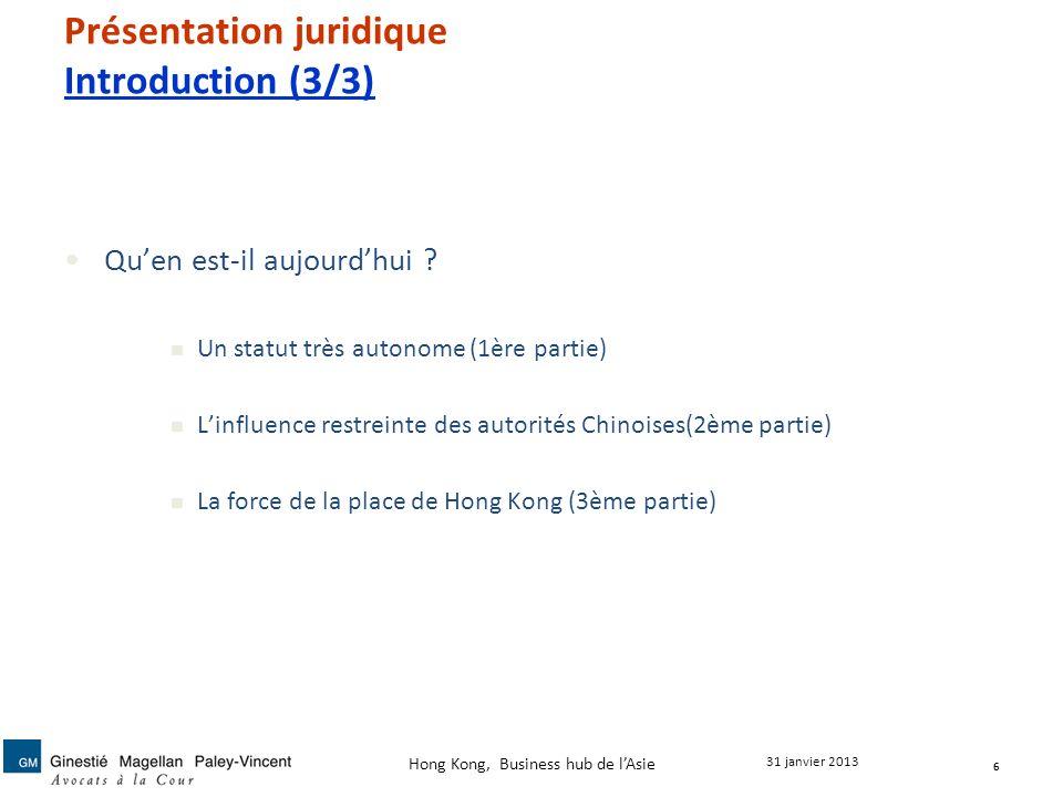 Présentation juridique Introduction (3/3)