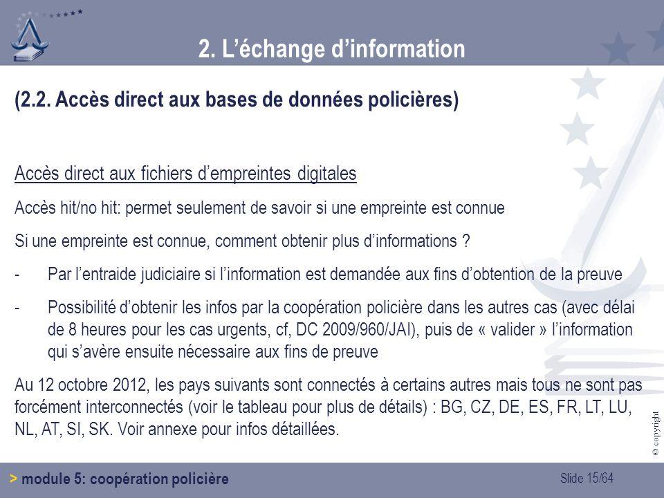 2. L'échange d'information