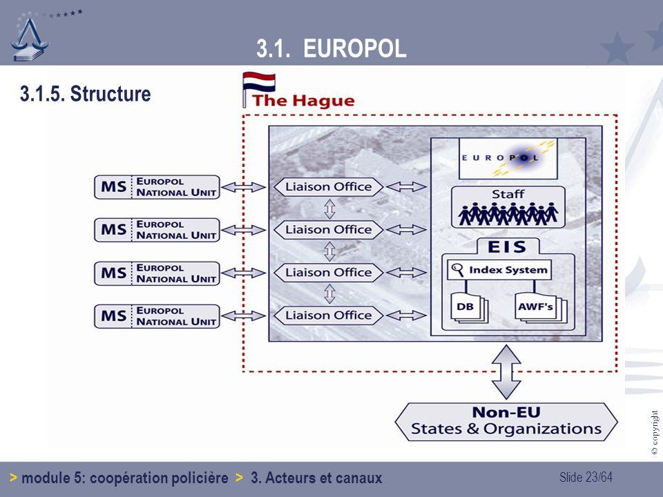 3.1. EUROPOL 3.1.5. Structure > module 5: coopération policière > 3. Acteurs et canaux