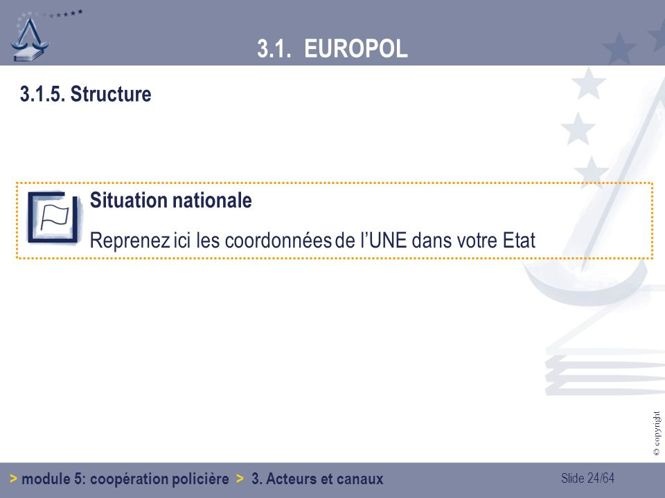 3.1. EUROPOL 3.1.5. Structure Situation nationale