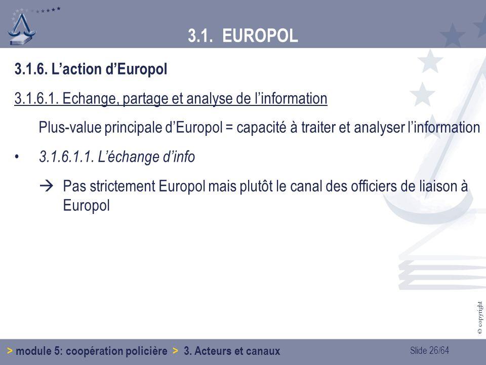 3.1. EUROPOL 3.1.6. L'action d'Europol