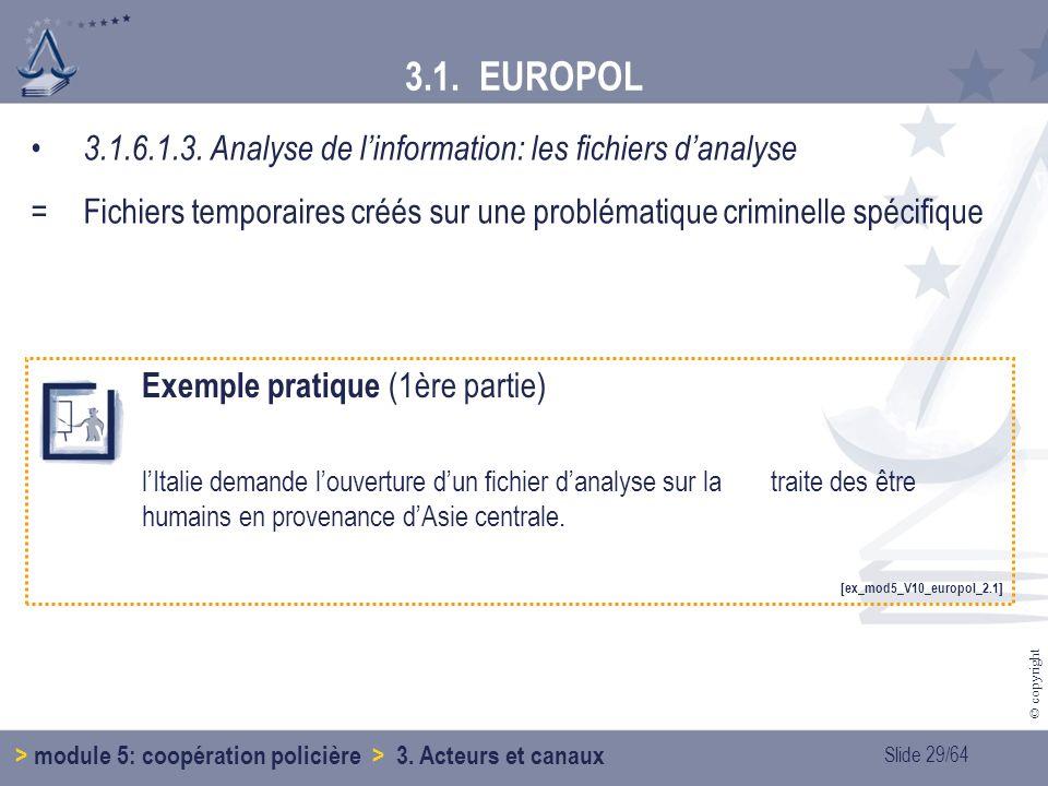 3.1. EUROPOL 3.1.6.1.3. Analyse de l'information: les fichiers d'analyse. = Fichiers temporaires créés sur une problématique criminelle spécifique.