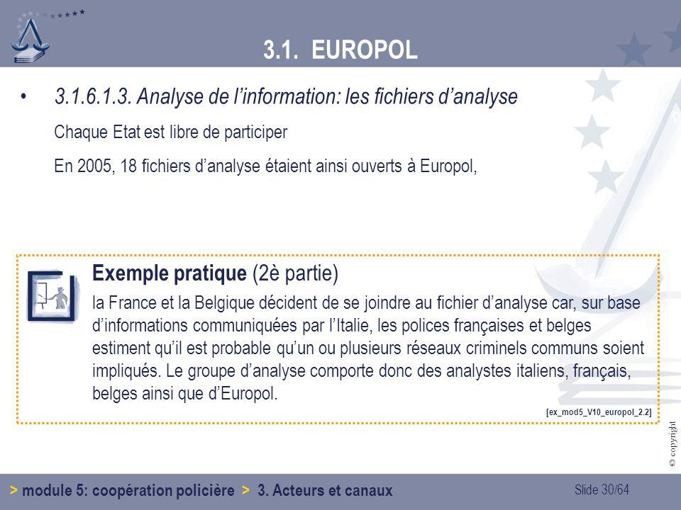 3.1. EUROPOL 3.1.6.1.3. Analyse de l'information: les fichiers d'analyse. Chaque Etat est libre de participer.