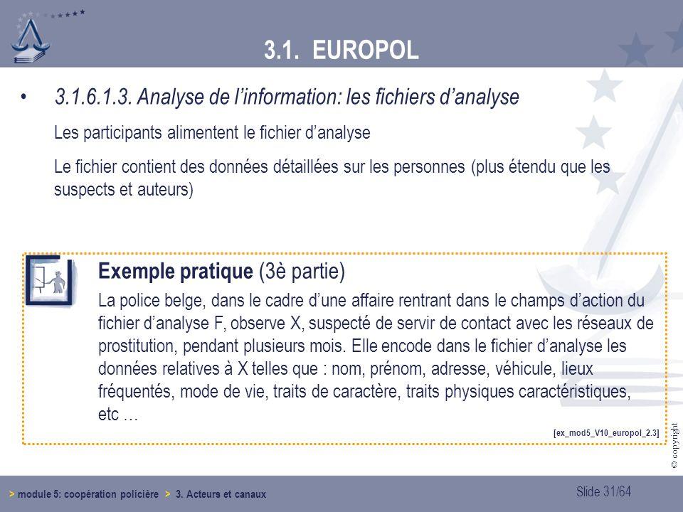 3.1. EUROPOL 3.1.6.1.3. Analyse de l'information: les fichiers d'analyse. Les participants alimentent le fichier d'analyse.