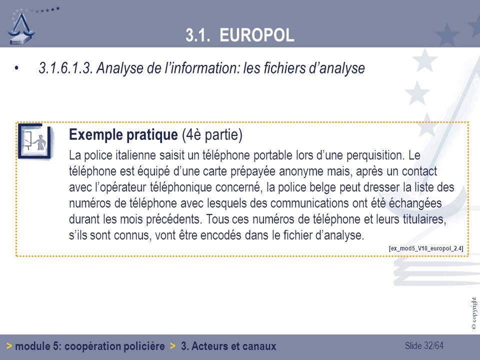 3.1. EUROPOL 3.1.6.1.3. Analyse de l'information: les fichiers d'analyse. Exemple pratique (4è partie)