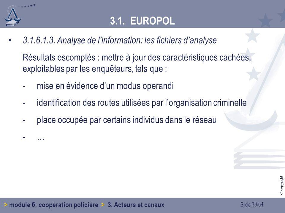 3.1. EUROPOL 3.1.6.1.3. Analyse de l'information: les fichiers d'analyse.
