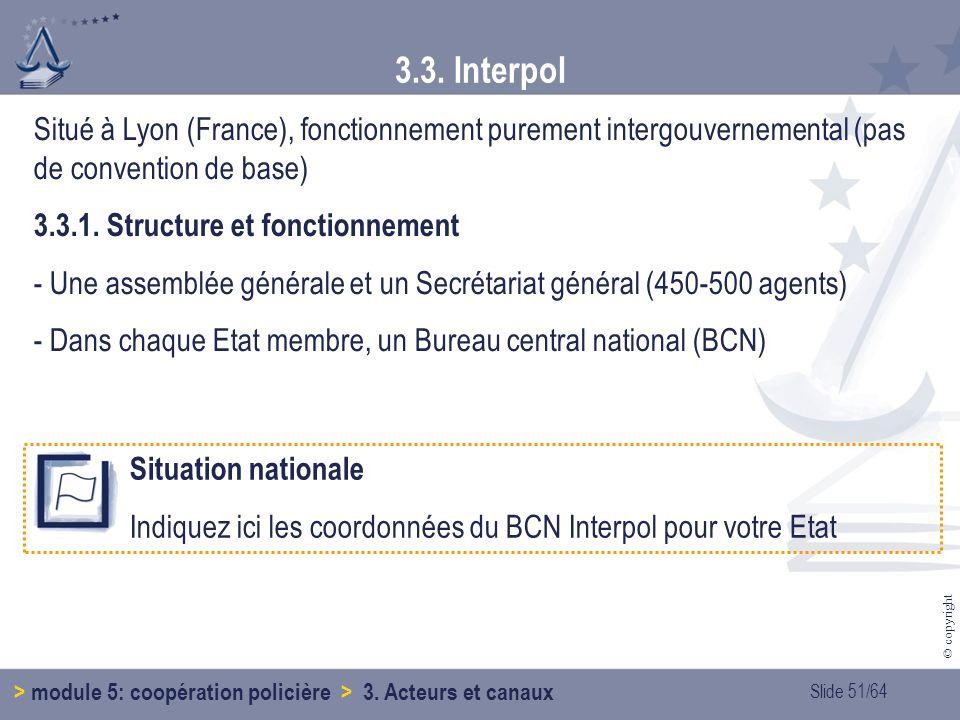 3.3. Interpol Situé à Lyon (France), fonctionnement purement intergouvernemental (pas de convention de base)