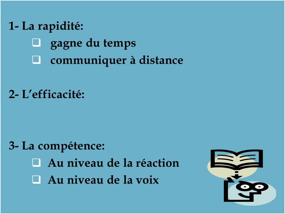 1- La rapidité: gagne du temps. communiquer à distance. 2- L'efficacité: 3- La compétence: Au niveau de la réaction.