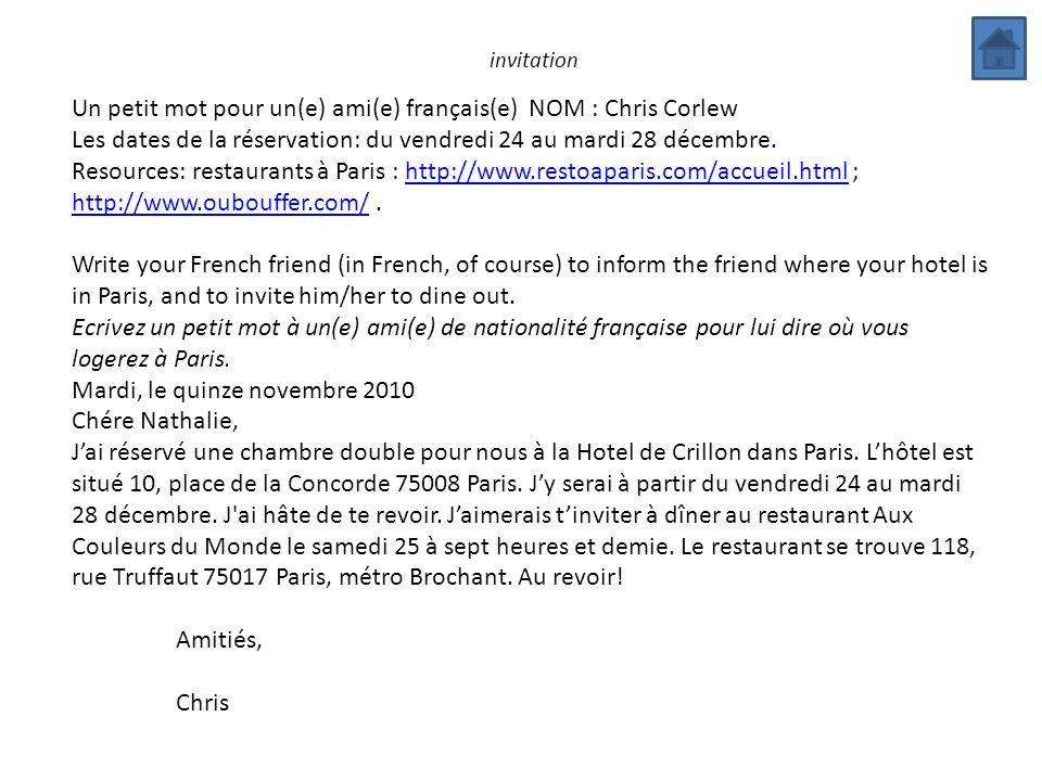 Un petit mot pour un(e) ami(e) français(e) NOM : Chris Corlew