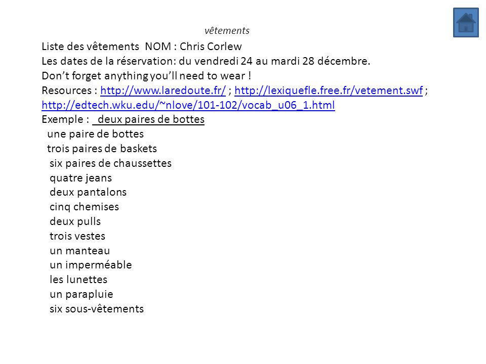 Liste des vêtements NOM : Chris Corlew