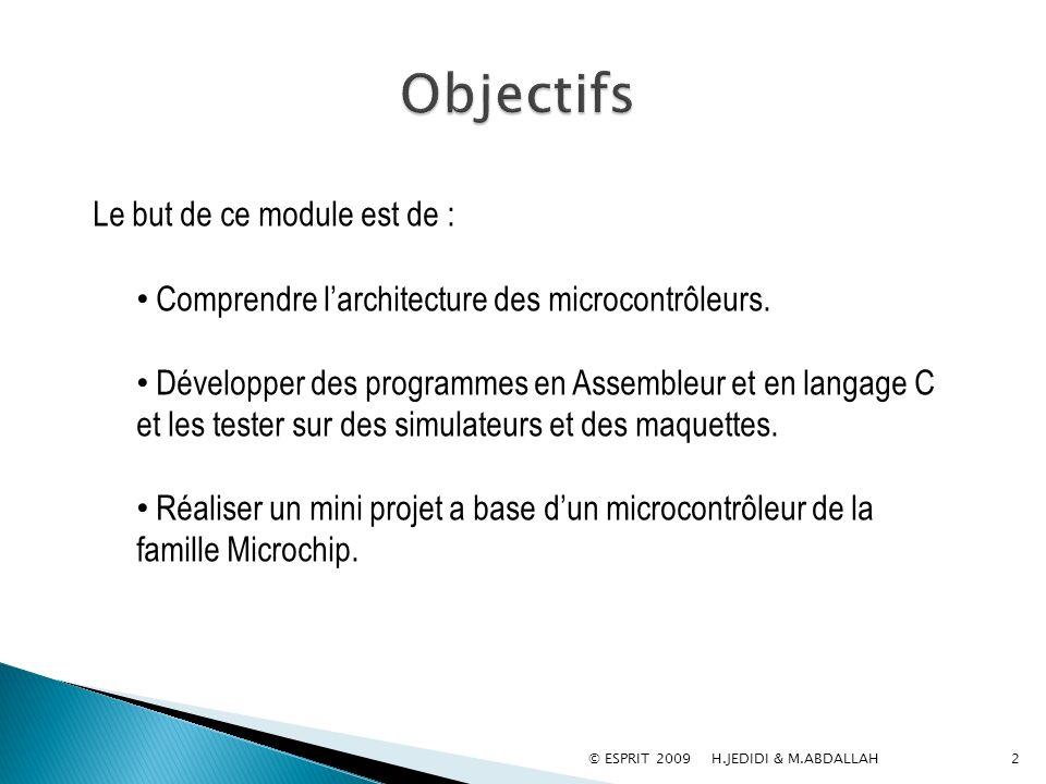 Objectifs Comprendre l'architecture des microcontrôleurs.