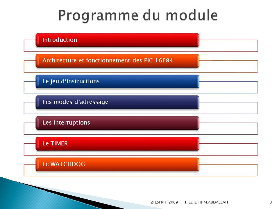 Programme du module Introduction