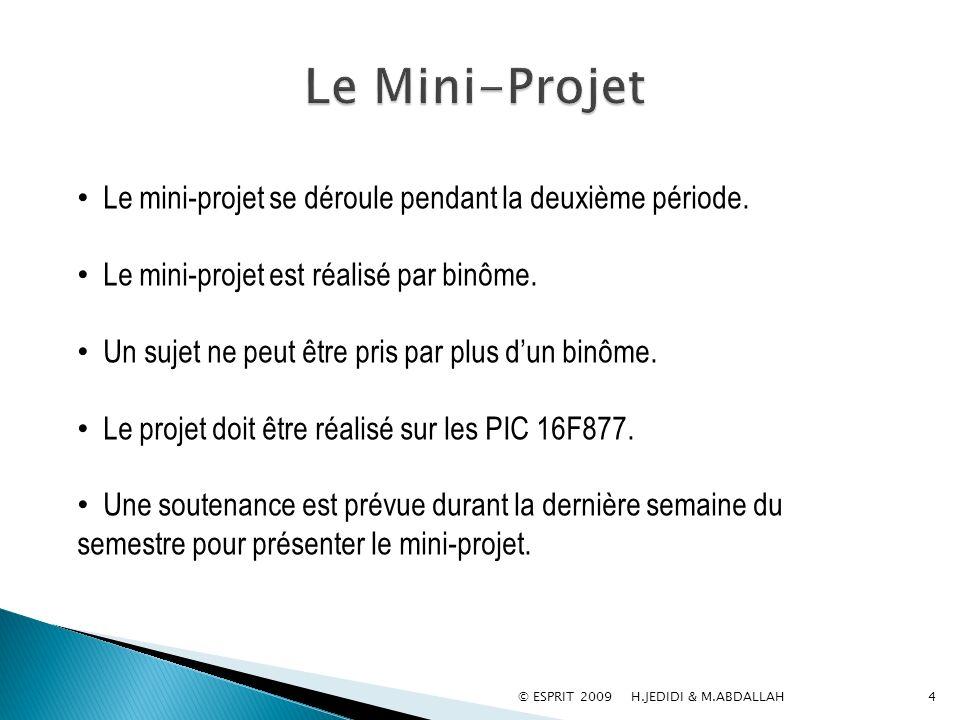 Le Mini-Projet Le mini-projet se déroule pendant la deuxième période.