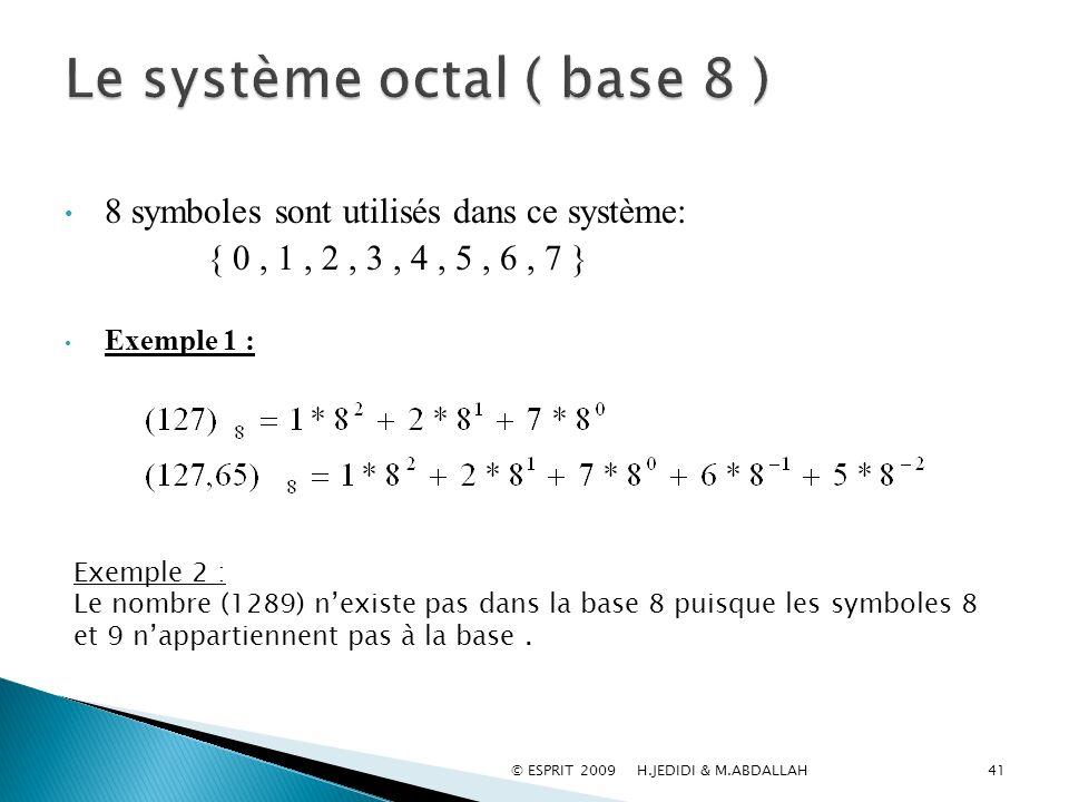 Le système octal ( base 8 )