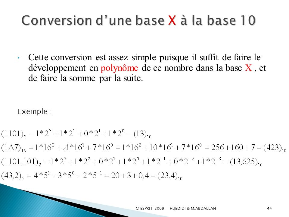 Conversion d'une base X à la base 10