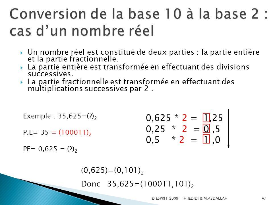 Conversion de la base 10 à la base 2 : cas d'un nombre réel