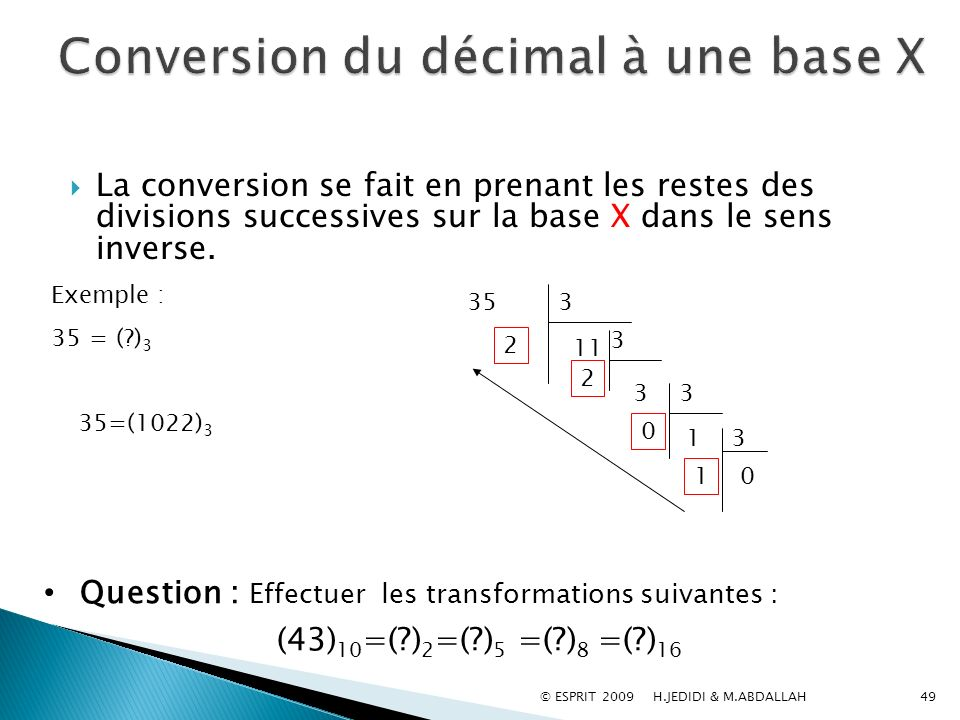 Conversion du décimal à une base X