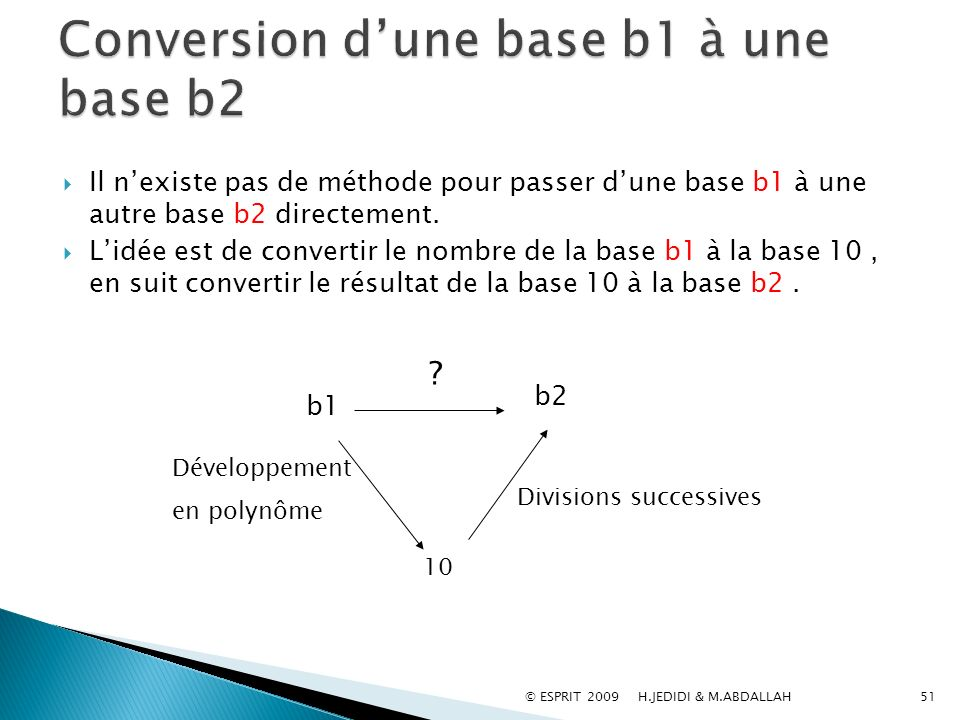 Conversion d'une base b1 à une base b2