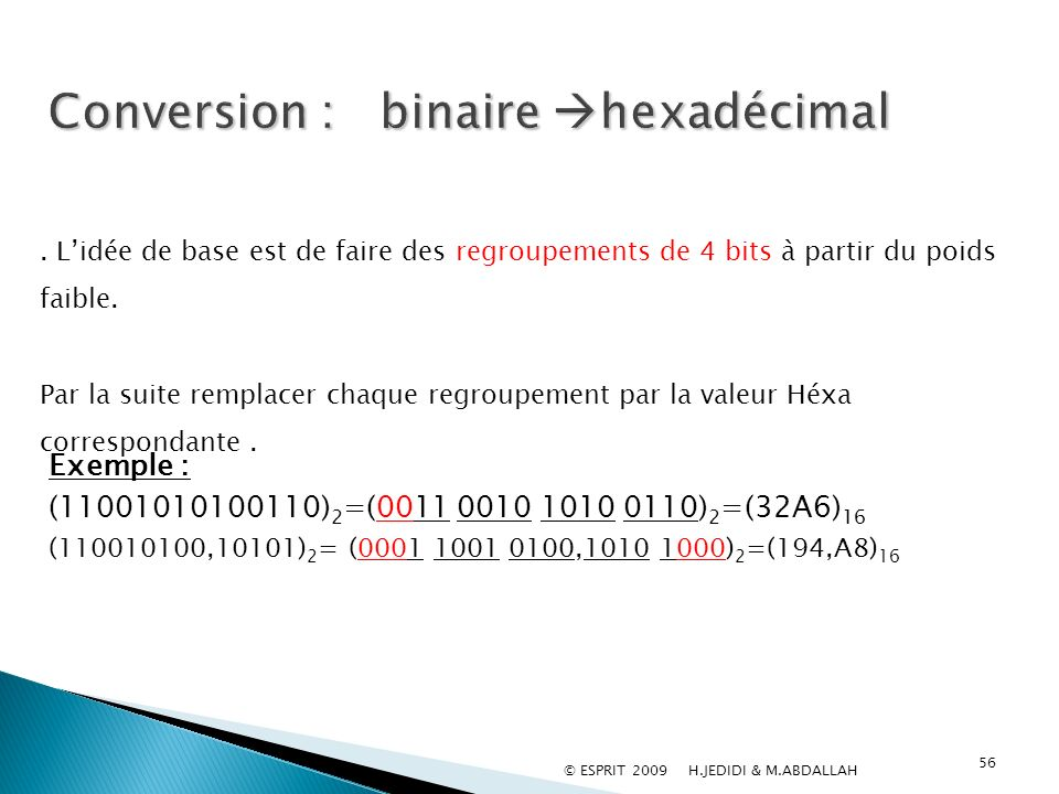 Conversion : binaire hexadécimal