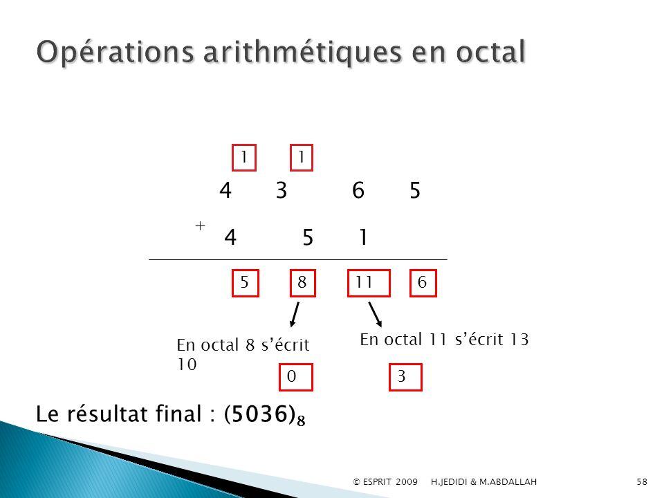 Opérations arithmétiques en octal