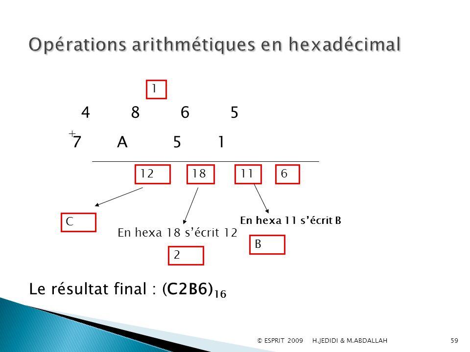 Opérations arithmétiques en hexadécimal