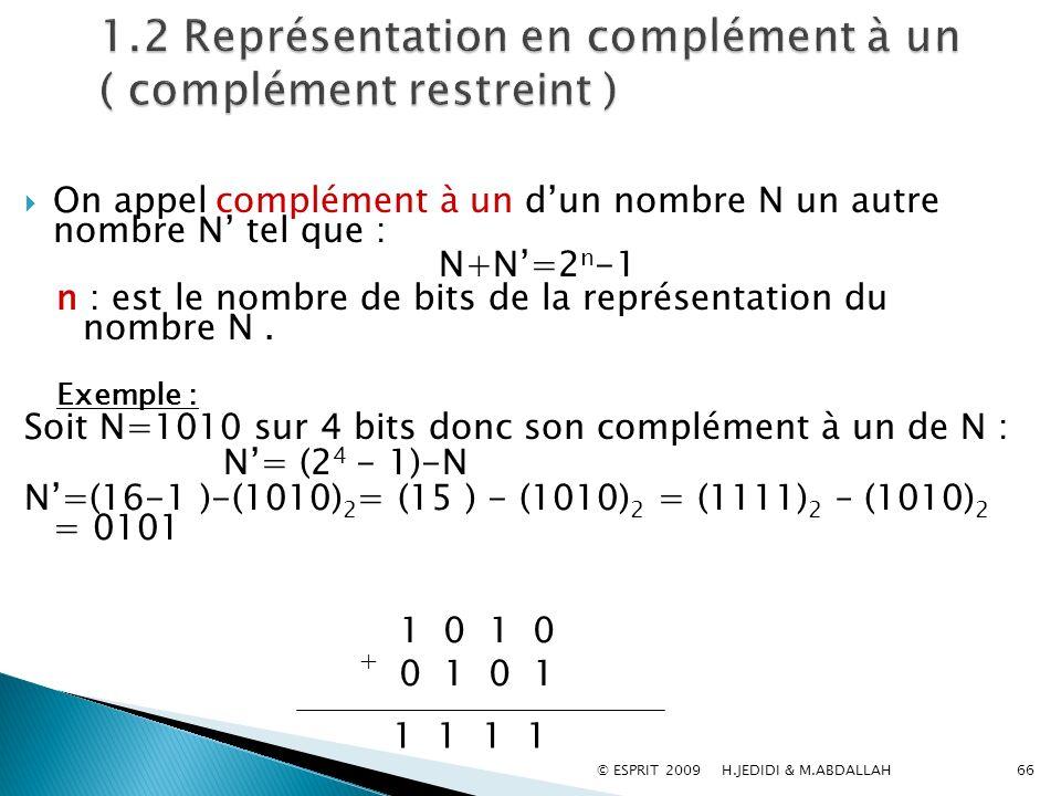 1.2 Représentation en complément à un ( complément restreint )