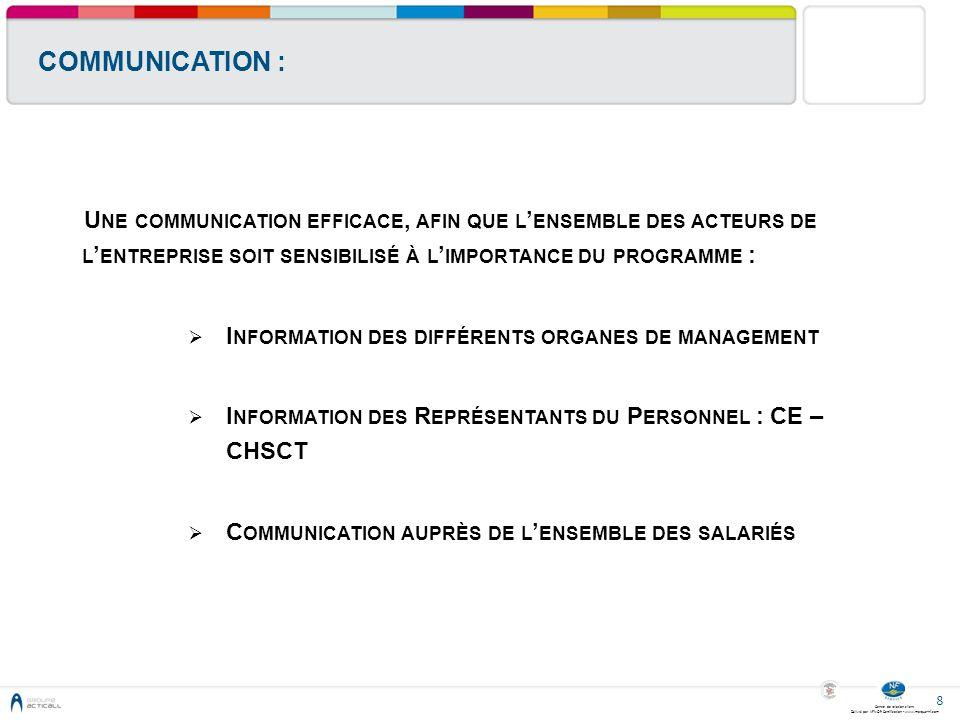 COMMUNICATION : Une communication efficace, afin que l'ensemble des acteurs de l'entreprise soit sensibilisé à l'importance du programme :