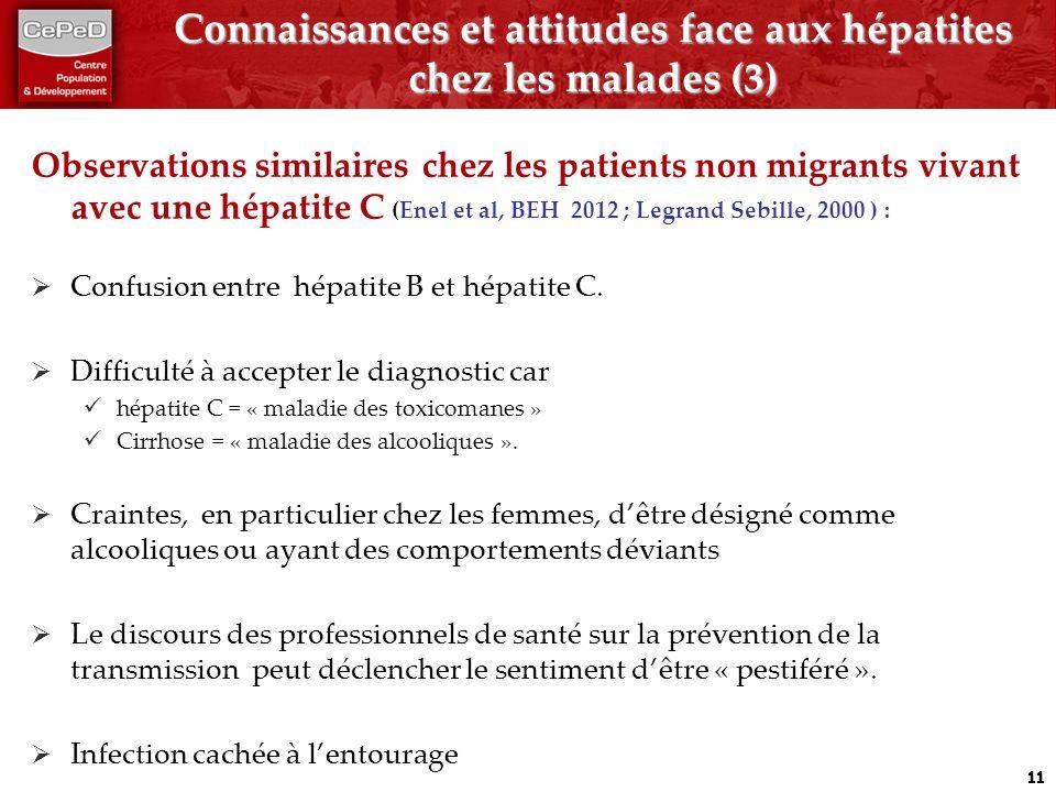 Connaissances et attitudes face aux hépatites chez les malades (3)