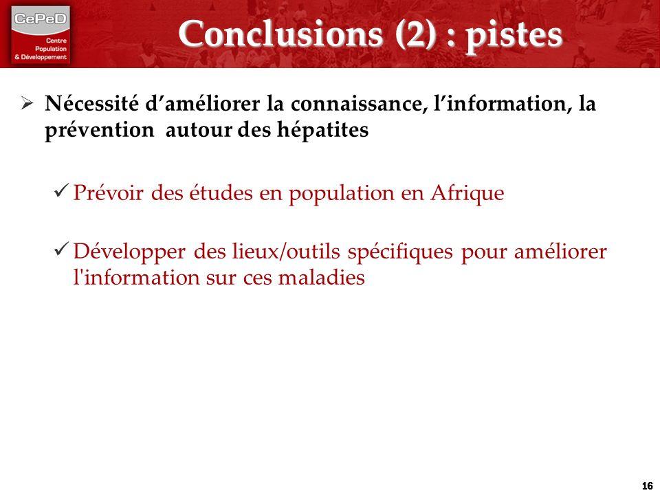 Conclusions (2) : pistes