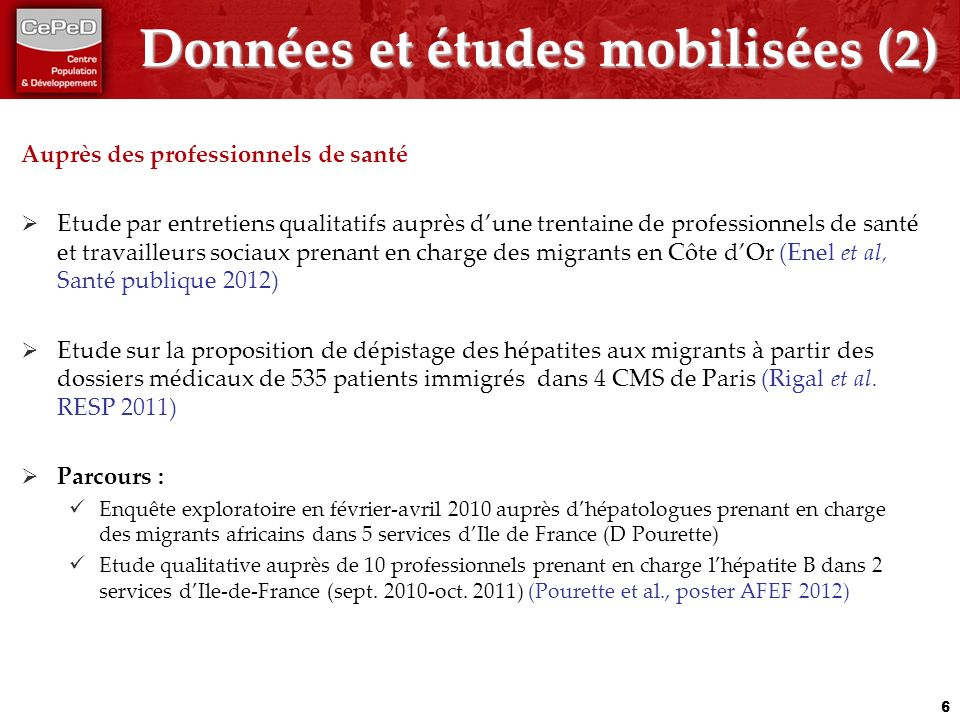 Données et études mobilisées (2)