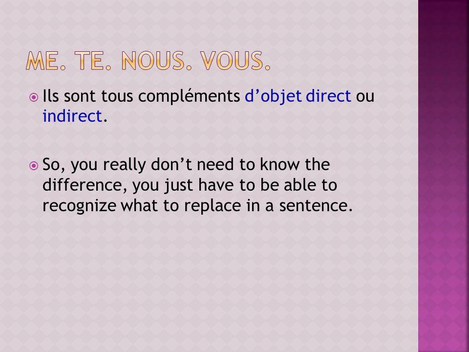 me. te. nous. vous. Ils sont tous compléments d'objet direct ou indirect.