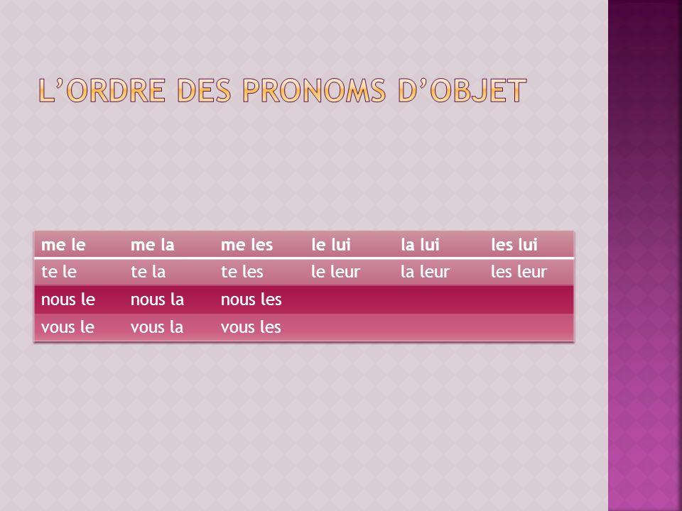 l'ordre des pronoms d'objet