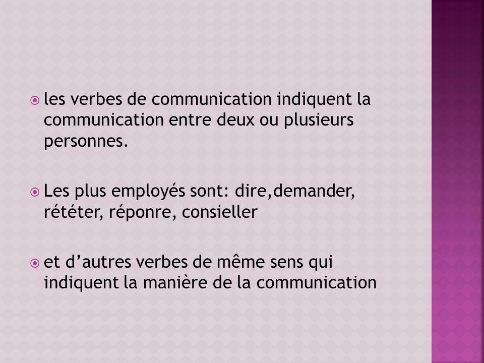 les verbes de communication indiquent la communication entre deux ou plusieurs personnes.