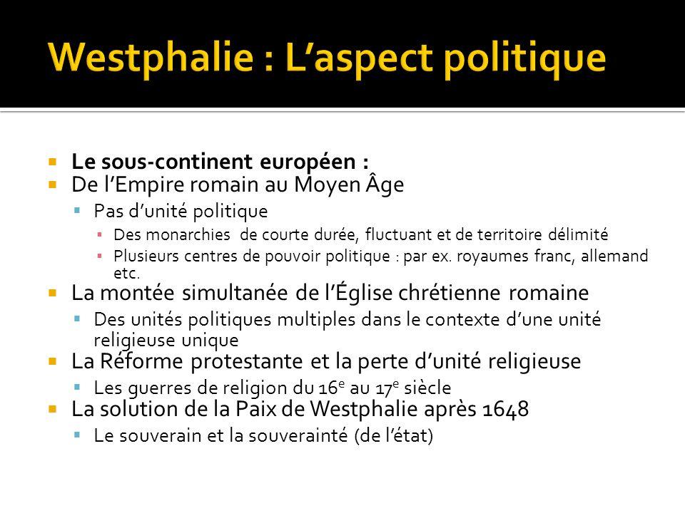 Westphalie : L'aspect politique