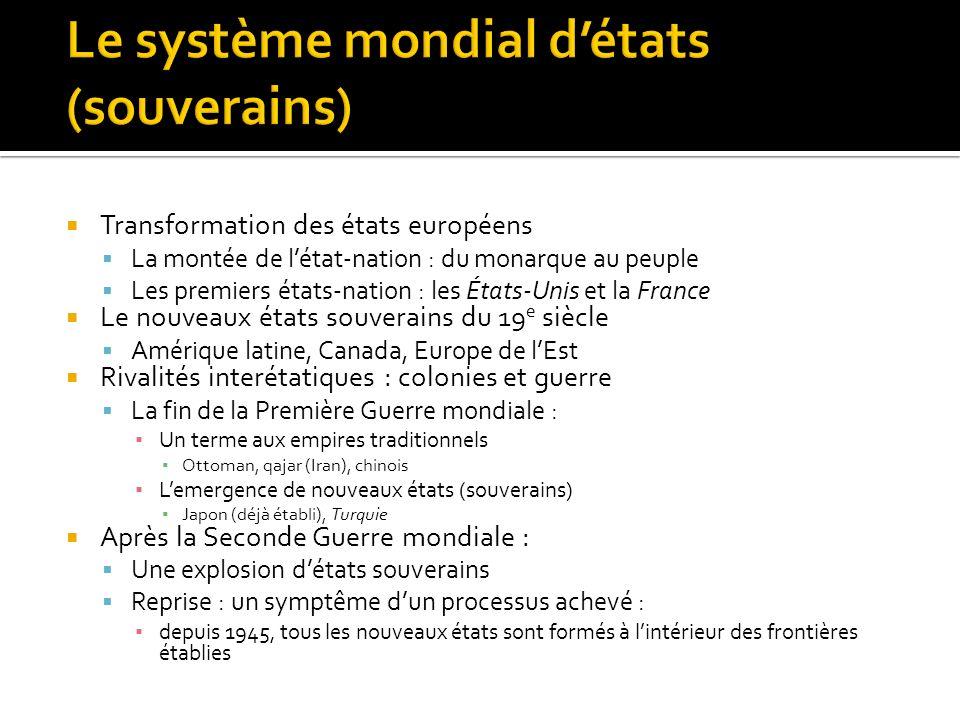 Le système mondial d'états (souverains)