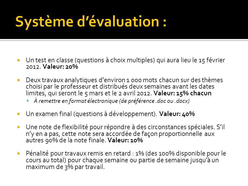 Système d'évaluation :