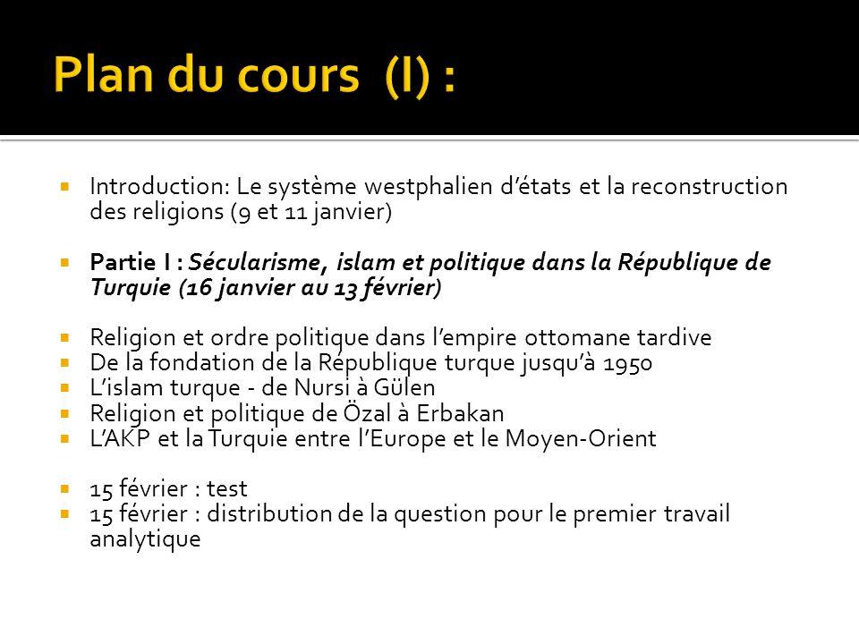 Plan du cours (I) : Introduction: Le système westphalien d'états et la reconstruction des religions (9 et 11 janvier)