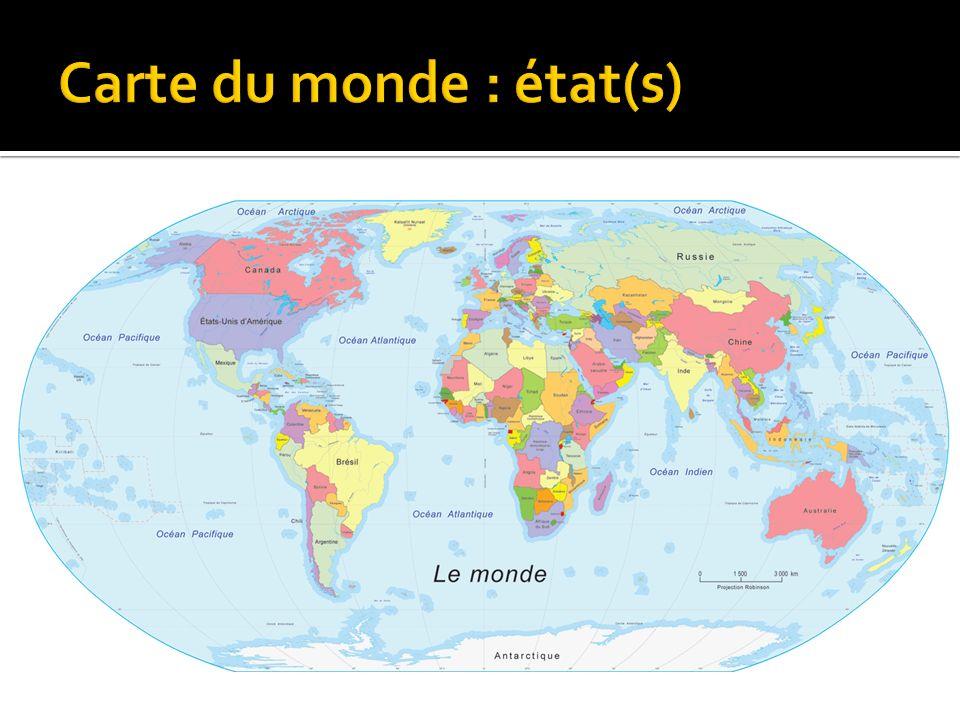 Carte du monde : état(s)