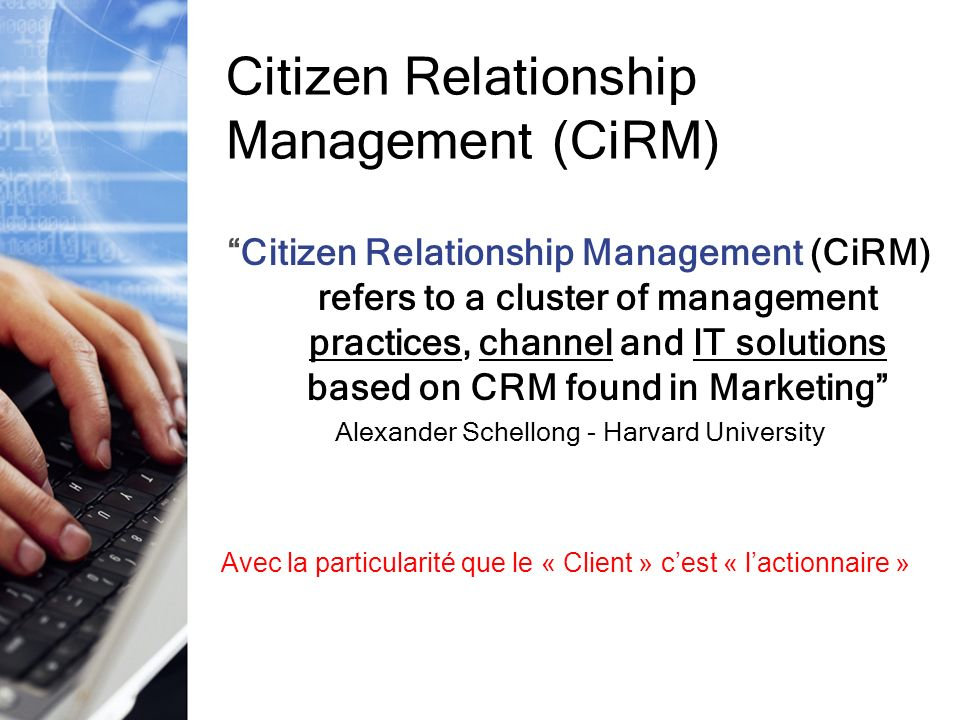 Citizen Relationship Management (CiRM)